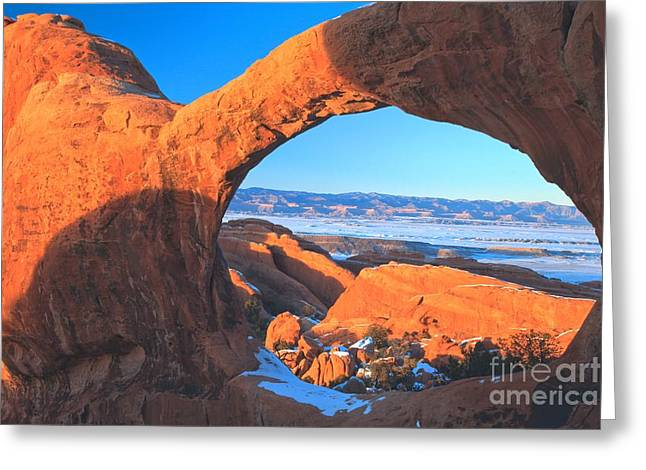 Double O Arch Greeting Cards - Through The Hole Greeting Card by Adam Jewell