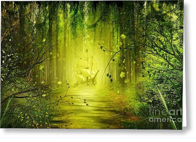 Surreal Landscape Mixed Media Greeting Cards - Through the Jungle Greeting Card by Svetlana Sewell