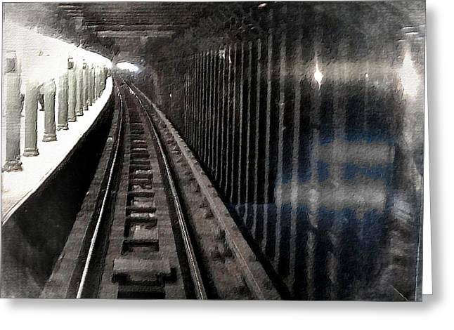 Caboose Mixed Media Greeting Cards - Through The Last Subway Car Window 3 Greeting Card by Tony Rubino