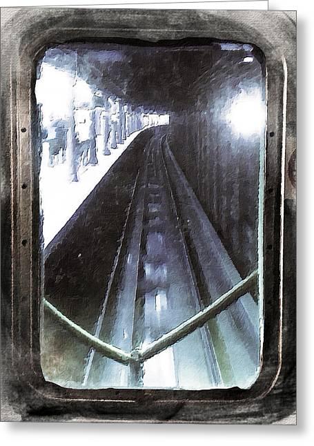 Caboose Mixed Media Greeting Cards - Through The Last Subway Car Window 4 Greeting Card by Tony Rubino