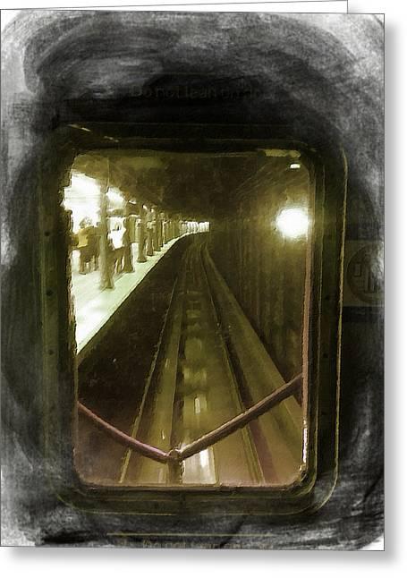 Caboose Mixed Media Greeting Cards - Through The Last Subway Car Window Greeting Card by Tony Rubino