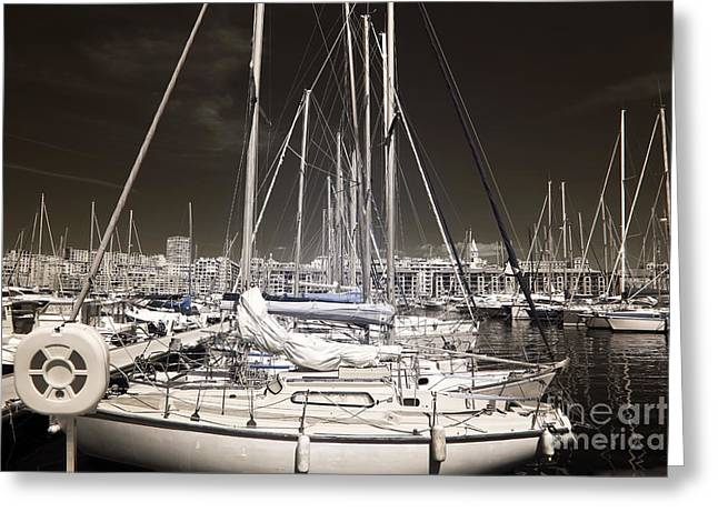 Sailboat Photos Greeting Cards - Through the Masts Greeting Card by John Rizzuto