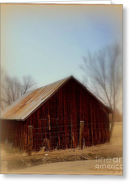 Shed Digital Art Greeting Cards - Through the Mist Greeting Card by Bobbee Rickard