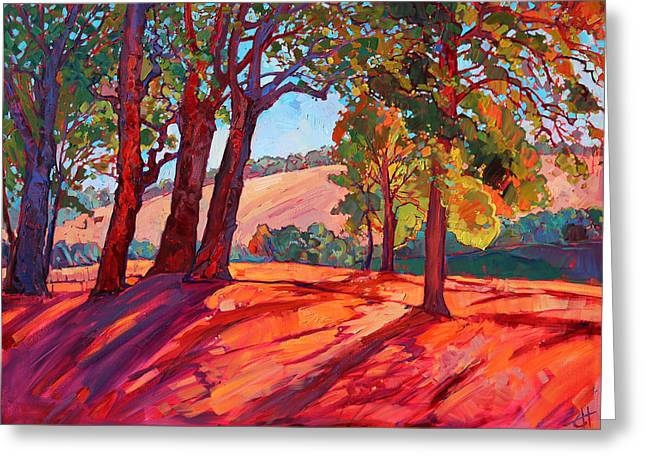 Loose Greeting Cards - Through the Oaks Greeting Card by Erin Hanson