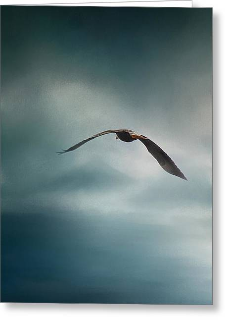 Eagle In Clouds Greeting Cards - Through the Rolling Storm Greeting Card by Jai Johnson