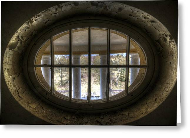 Through The Round Window Greeting Card by Nathan Wright