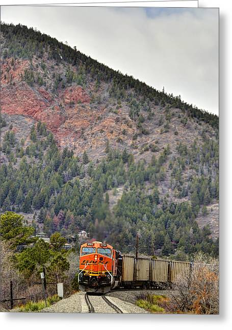 Bnsf Greeting Cards - Through the S Curve Greeting Card by Ken Smith
