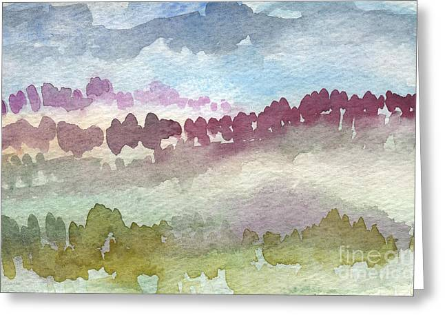 Fog Mixed Media Greeting Cards - Through The Trees Greeting Card by Linda Woods