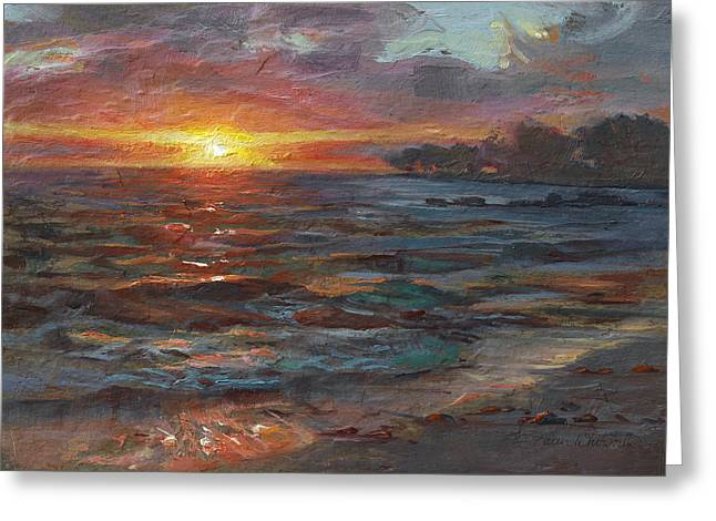 Colorful Greeting Cards - Through The Vog - Hawaii Beach Sunset Greeting Card by Karen Whitworth