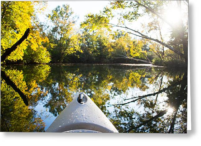 Yellow Canoe Greeting Cards - Through the Wilderness Greeting Card by Parker Cunningham