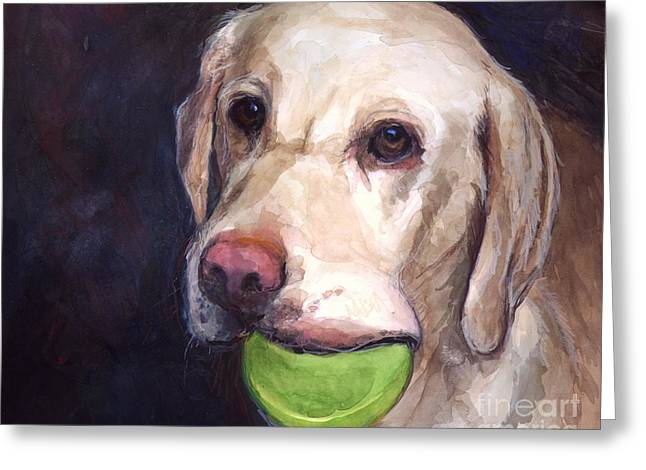Yellow Dog Paintings Greeting Cards - Throw the Ball Greeting Card by Molly Poole