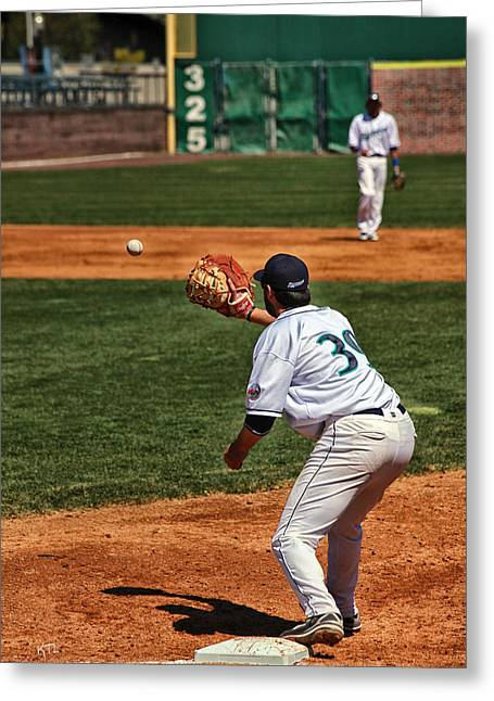 Baseball Bat Greeting Cards - Throw To First Greeting Card by Karol  Livote