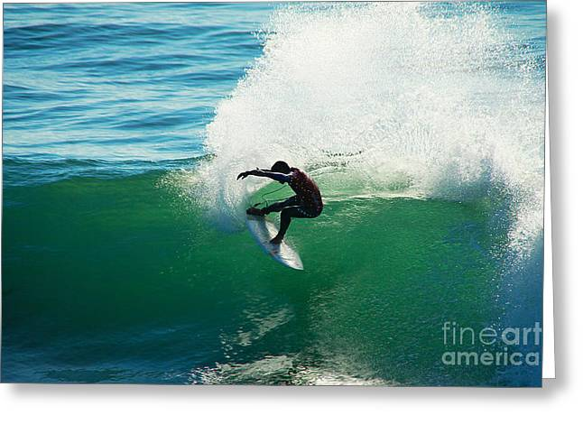Steamer Lane Greeting Cards - Throwing Light Greeting Card by Paul Topp