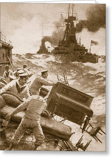 Under Fire Greeting Cards - Throwing Overboard All Inflammable Luxuries When a Battleship is Cleared for Action Greeting Card by English School