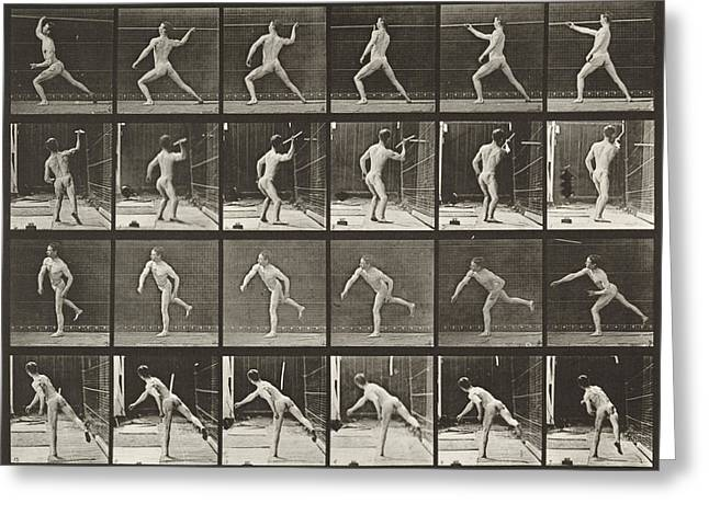 Muybridge Greeting Cards - Throwing Spear Greeting Card by Celestial Images