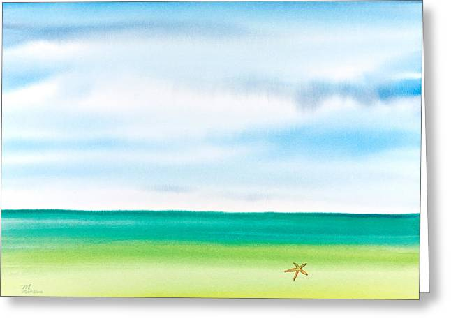 Michelle Greeting Cards - Throwing Starfish Into the Sea Watercolor Painting Greeting Card by Michelle Wiarda