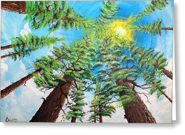 Sun Rays Paintings Greeting Cards - Thru The Pines Greeting Card by Jim Bowers