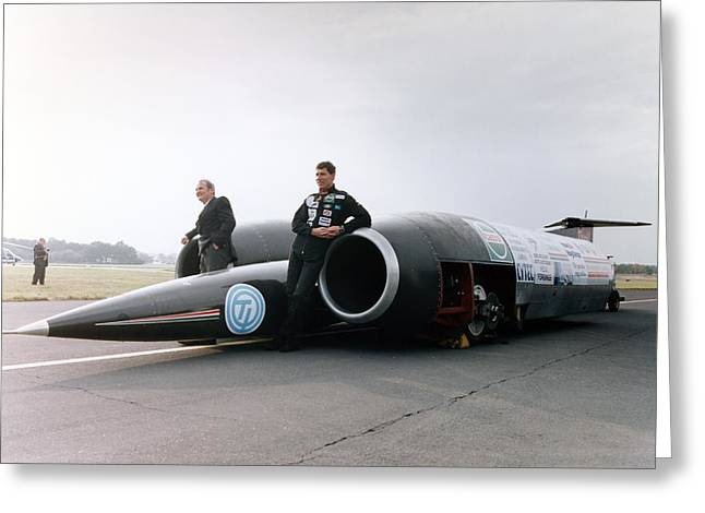Record Breaker Greeting Cards - Thrust SSC supersonic car and team Greeting Card by Science Photo Library