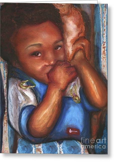 African-american Pastels Greeting Cards - Thumb and a Blankee Greeting Card by Alga Washington