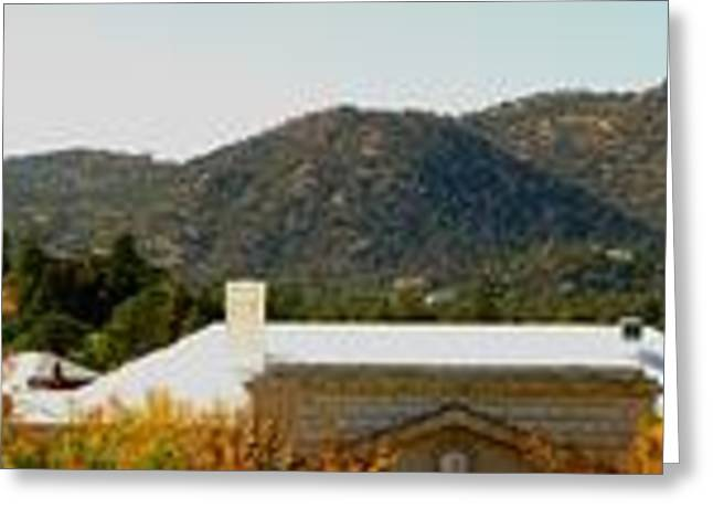 Prescott Greeting Cards - Thumb Butte Over Downtown in Autumn Panoramic Greeting Card by Aaron Burrows