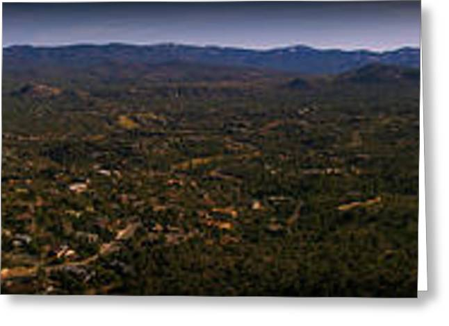 Prescott Greeting Cards - Thumb Butte Panoramic Greeting Card by Aaron Burrows
