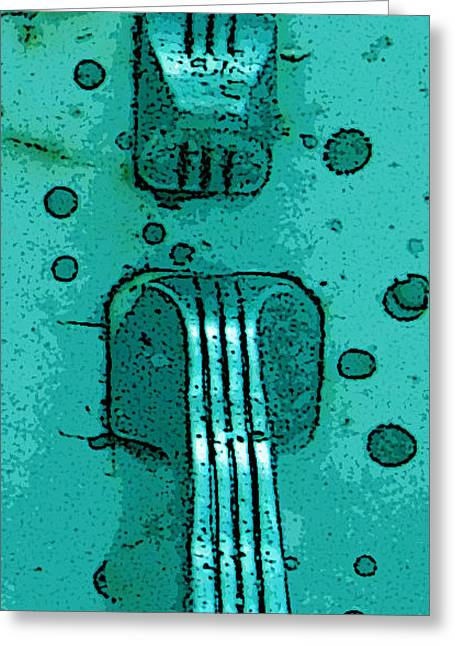 Thumb Slide For A Painter In Teal Greeting Card by Cathy Peterson
