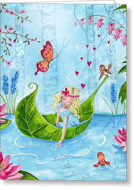 Best Sellers -  - Flower Pink Fairy Child Greeting Cards - Thumbelina 1 Greeting Card by Caroline Bonne-Muller