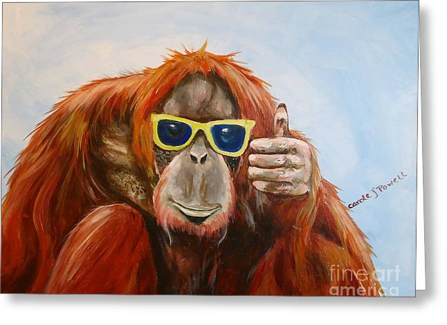 Chimpanzee Paintings Greeting Cards - Thumbs Up Greeting Card by Carole Powell