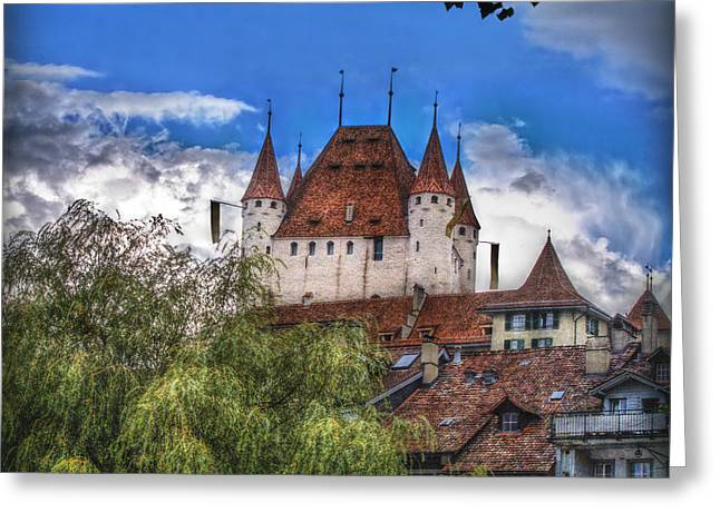 Geschichte Greeting Cards - Thun Castle Greeting Card by Hanny Heim
