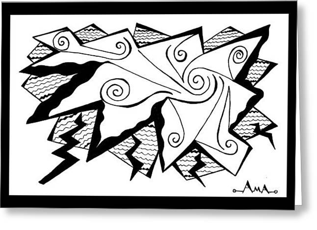Thunderstorm Drawings Greeting Cards - Thunder and Lightning Greeting Card by Ama White Owl