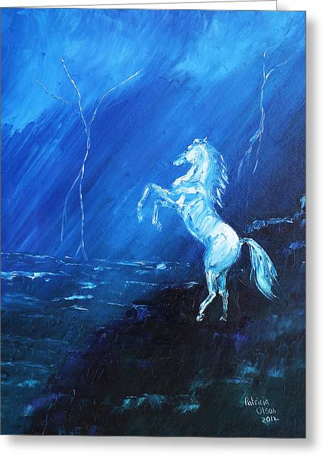 Storm Prints Paintings Greeting Cards - Thunder and Lightning Greeting Card by Patricia Olson