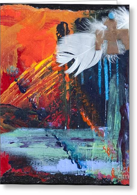 Red Abstract Pastels Greeting Cards - Thunder Bird Abstract Greeting Card by Tracy L Teeter