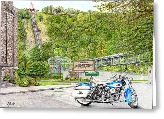 Pa Drawings Greeting Cards - Thunder in Johnstown Greeting Card by Albert Puskaric