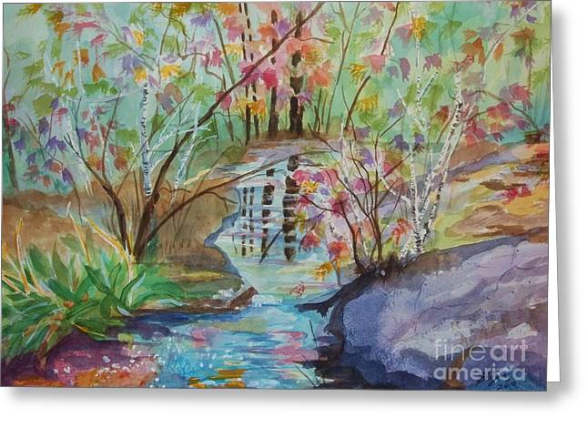 Beautiful Creek Greeting Cards - Thunder Mountain Mystery Greeting Card by Ellen Levinson