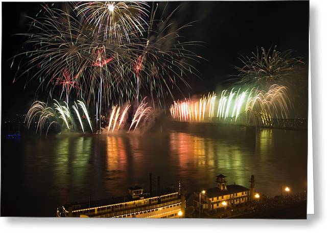 Recently Sold -  - Pyrotechnics Greeting Cards - Thunder Over Louisville - D008432 Greeting Card by Daniel Dempster