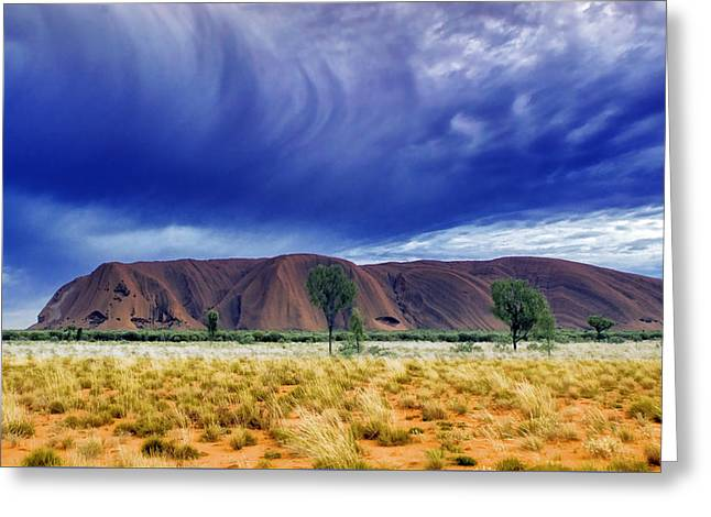 Ayers Rock Greeting Cards - Thunder Rock Greeting Card by Holly Kempe