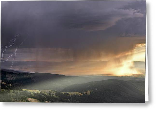 Thunder Shower And Lightning Over Teton Valley Greeting Card by Leland D Howard