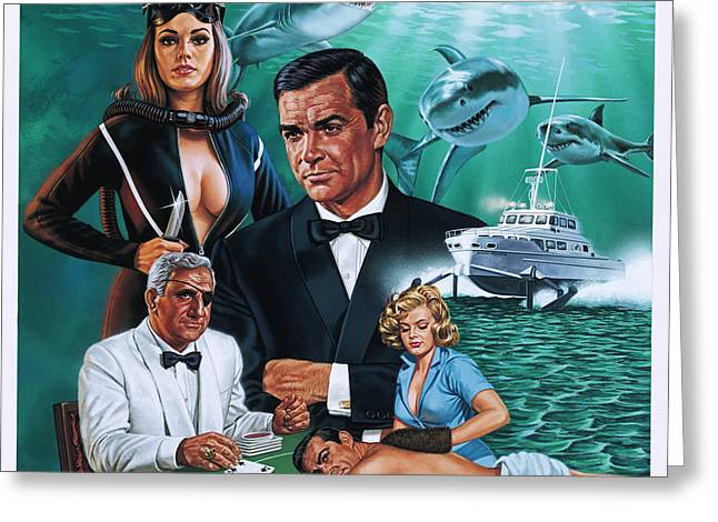 Connery Greeting Cards - Thunderball Greeting Card by Dick Bobnick