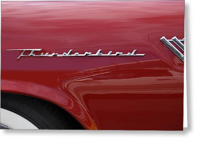 Classic Automobile Art Greeting Cards - Thunderbird Emblem Greeting Card by Mike McGlothlen