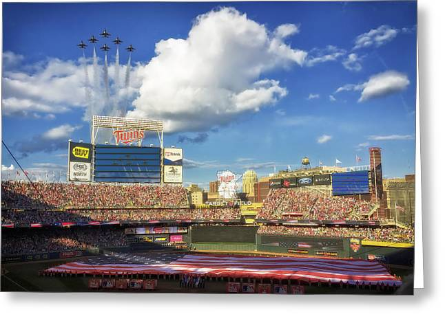 Jet Star Greeting Cards - Thunderbird Flyover at Target Field for All Star Game Greeting Card by Mountain Dreams