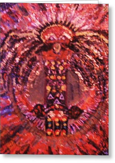 Birght Greeting Cards - Thunderbird in Red Greeting Card by Anne-Elizabeth Whiteway