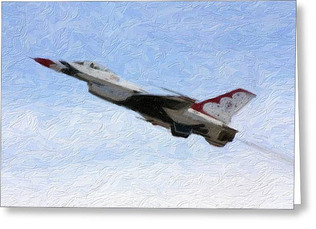 Jet Mixed Media Greeting Cards - Thunderbird Jet in Flight Greeting Card by Gravityx9 Designs