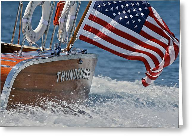 Mahogany Greeting Cards - Thunderbird Stars and Stripes Greeting Card by Steven Lapkin
