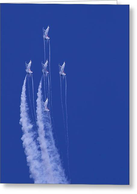 Oc Greeting Cards - Thunderbirds 5 Straight Up With Contrails Greeting Card by Donna Corless
