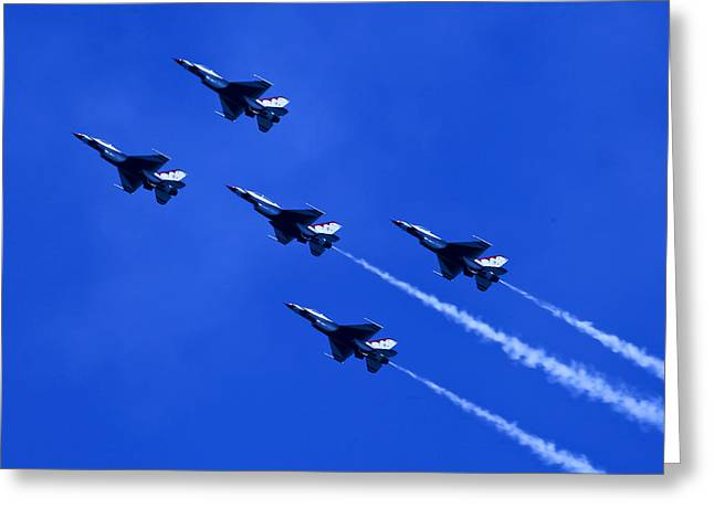 Oc Greeting Cards - Thunderbirds 5 With Contrails Greeting Card by Donna Corless