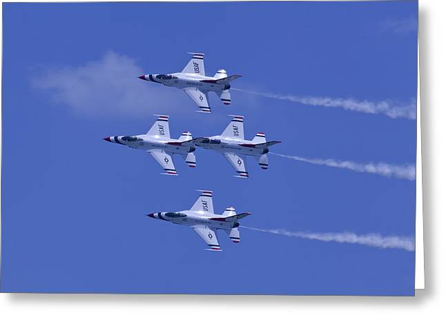 Oc Greeting Cards - Thunderbirds Diamond Formation Topsides Greeting Card by Donna Corless