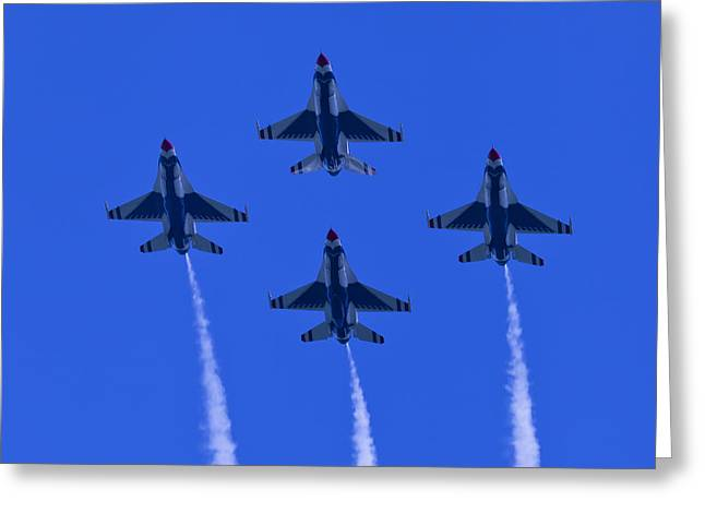 Oc Greeting Cards - Thunderbirds Diamond Formation Undersides 2 Greeting Card by Donna Corless