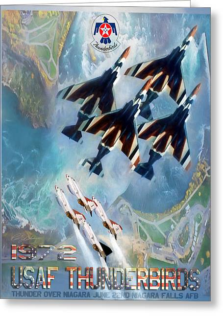 Air Shows Greeting Cards - Thunderbirds Poster  Greeting Card by Peter Chilelli