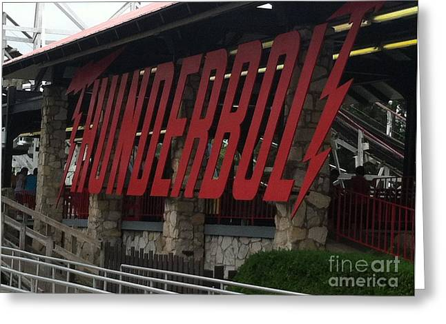 Kennywood Park Greeting Cards - Thunderbolt Roller Coaster Greeting Card by Michael Krek