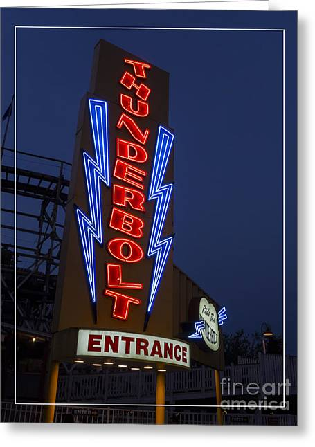 Amusement Greeting Cards - Thunderbolt Rollercoaster Neon Sign Greeting Card by Edward Fielding